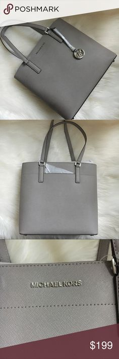 9f34c8f572de Michael Kors tote Large Morgan tote in Pearl grey Saffiano leather with  silver tone hardware.