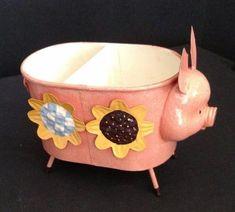 Ranger Gift Pink Pig Metal Flowers Pencil Pen Stationery Holder MIB Retired NOS