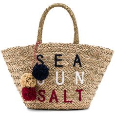 SUNDRY Sea Sun Salt Straw Tote (€110) ❤ liked on Polyvore featuring bags, handbags, tote bags, straw tote handbags, woven tote, pocket tote, straw handbags and handbag purse