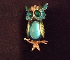 Vtg Signed Art Enamel Rhinestone Blue Green Art Glass Owl Pin Brooch c1960'S | eBay
