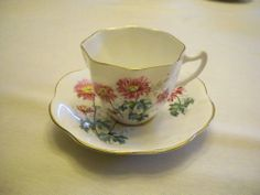 Lefton Bone China Tea Cup and Saucer - Pink Flowers with Gold Trim