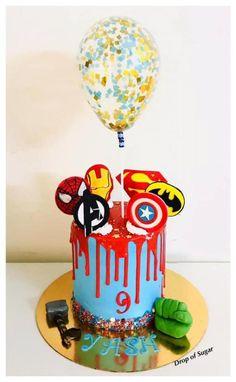 Whipped Cream Avengers theme Cake - cake by Drop of sugar Birthday Drip Cake, Avengers Birthday Cakes, Superhero Birthday Party, 5th Birthday, Marvel Cake, Batman Cakes, Pastel Avengers, Avenger Cake, Superhero Cake