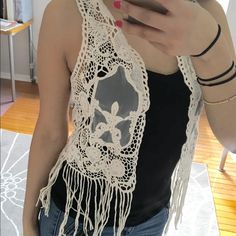 Boho crochet vest  Beautiful boho crochet best. Looks so cute with a colorful tank or bandeau under for the summer or festivals. Bought from Europe. Castro . Small/medium. Tops