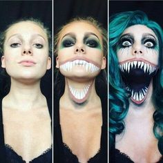 Are you looking for ideas for your Halloween make-up? Browse around this website for creepy Halloween makeup looks. Creepy Halloween Makeup, Amazing Halloween Makeup, Scary Makeup, Halloween Looks, Halloween Costumes, Fx Makeup, Horror Make-up, Fantasias Halloween, Makeup Tutorials