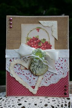 Card Vintage Cherries in a Basket