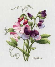 Sweet Peas embroidery by Trish Burr