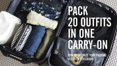 Pack 20 Outfits in One Carry-On via @Stylebook App: Closet Organizer #fashionapp #closet #organization #travel #traveltips #packing #carryon