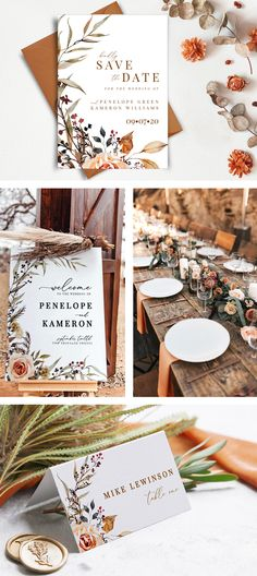 Amber- our earthy boho wedding stationary collection in fall hues- perfect for woodland-themed or outdoor rustic weddings bohemian wedding Amber- Earthy Boho Rustic Wedding Invitation and Stationary Collection- DIY wedding Template Rustic Bohemian Wedding, Rustic Weddings, Simple Weddings, Outdoor Weddings, Country Weddings, Summer Weddings, Romantic Weddings, Fall Wedding Invitations, Wedding Stationary