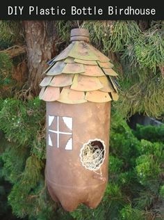 Recycle A Plastic Bottle Into A Birdhouse...http://homestead-and-survival.com/recycle-a-plastic-bottle-into-a-birdhouse/