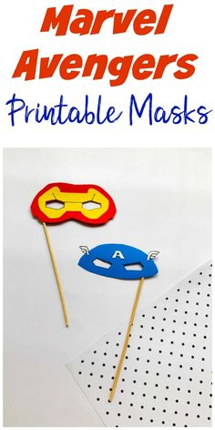 Marvel Avengers Printable Masks, Captain America and Iron Man DIY masks. Wooden Craft Sticks, Craft Stick Crafts, Disney Diy, Disney Crafts, Disney Travel, Infant Activities, Activities For Kids, Captain America Mask, Avengers Crafts