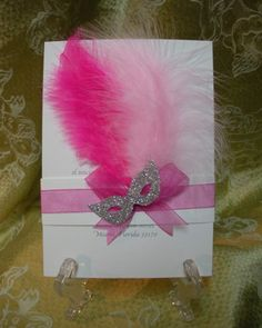 masquerade+centerpiece | Mardi Gras Pink Feather Invitation 5 x 7 decorated with feathers ...