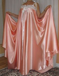 Plus size vintage lingerie, sexy slippery satin , nylon and lace vintage lingerie negligee robe and nightgowns. Baby Nightgown, Satin Nightie, Satin Sleepwear, Vintage Nightgown, Satin Pajamas, Nightwear, Nightgowns, Lingerie Vintage, Satin Lingerie