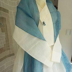 쪽염색 한산세모시모시 숄과 모시저고리 그레이스수강생님작품 #풍경한복  #한복 #여름한복