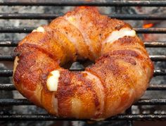 Bacon wrapped, mozzarella stuffed pineapple rings. Umm, yes. Must try it. Because, reasons.