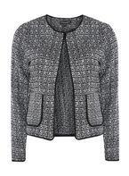 Womens Black and White Boucle Fringe Jacket- Black
