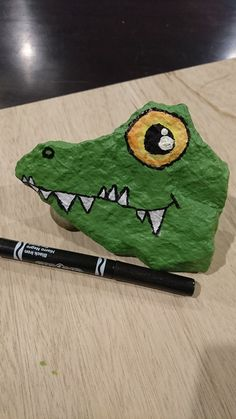 crocodile painted rock