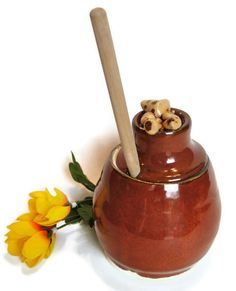 Honey Jar Honey Dipper Red Brown Miniature by RisingStarPottery1