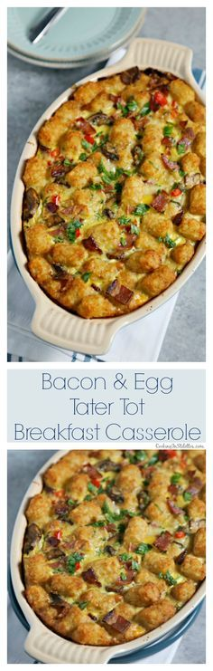 This Bacon and Egg Tater Tot Breakfast Casserole from CookingInStilettos.com is a comforting twist on a classic, packed with veggies and bacon - perfect for weekend breakfast or brunch! Breakfast Casserole | Tater Tot Casserole | Comfort Food | Casserole | Mushrooms | Bacon | Make Ahead Recipe via @CookInStilettos