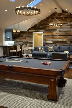 Rec room or recreational room can be the most favorite room in the house. Here are 23 rec room ideas for your inspiration! Game Room Basement, Man Cave Basement, Basement Ideas, Basement Bathroom, Bathroom Gray, Attic Game Room, Rustic Basement, Basement Designs, Attic Man Cave
