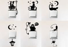 This listing is for Light switch Vinyl Decal SET OF SIX different light switch decorations Set includes six different decals for six switch plates. Choose one color. Each decal suits wide light switch plate. If you would like some other size, plea Simple Wall Paintings, Creative Wall Painting, Wall Painting Decor, Creative Walls, Diy Wall Art, Diy Wall Decor, Wall Decor Stickers, Vinyl Decals, Car Decals