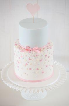 Simple but cute gender reveal cake
