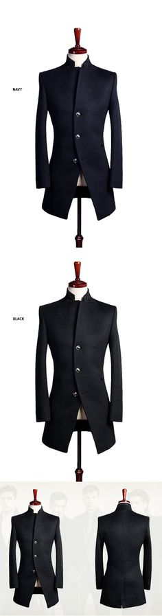 Outerwear :: Coats :: Asymmetric Diagonal Cut Slim Wool-Coat 55 - Mens Fashion Clothing For An Attractive Guy Look