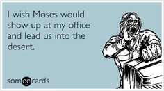 ecards | I wish Moses would show up at my office and lead us into the desert.