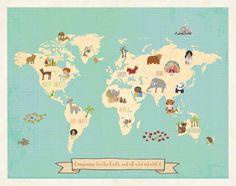 Global Compassion World Map Wall Art Print door ChildrenInspire