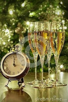 Photo about Champagne glasses, clock with lights at midnight. Image of bottle, sparkle, romantic - 47740146 Happy New Year Pictures, Happy New Year Quotes, Happy New Year Greetings, New Year Greeting Cards, New Year Wishes, Merry Christmas And Happy New Year, Christmas Time, Holiday, New Years Eve Day