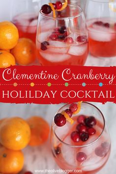 The flavors of the tangy cranberry combine with the citrus bursts of clementine and soft sweetness of the rum to create this incredible Clementine Cranberry Cocktail! you can omit the rum😊 Potato Recipes, Soup Recipes, Vegetarian Recipes, Chicken Recipes, Dinner Recipes, Casserole Recipes, Pasta Recipes, Breakfast Recipes, Healthy Recipes