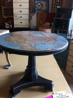 Decoupage map table *** use Christmas music, maps, dictionary pages Decoupage Furniture, Refurbished Furniture, Repurposed Furniture, Furniture Projects, Furniture Makeover, Home Projects, Painted Furniture, Diy Furniture, Decoupage Dresser