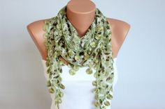 Green Fringed lace scarf Summer scarf woman scarf by SenasShop, $12.90