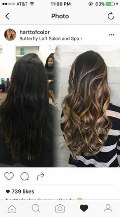 Hair Highlights Caramel Balayage Ideas For 2019 Boliage Hair, Carmel Hair Color, Hair Color And Cut, Brunette Hair, Dark Brunette, Blonde Hair, Ombre Hair, Black Hair Ombre, Gorgeous Hair