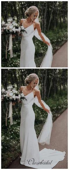 ClaireBridalSimple Design Wedding Dresses, Popular Good Price… - New Ideas Bohemian Bridesmaid, Bohemian Wedding Dresses, Long Wedding Dresses, Designer Wedding Dresses, Wedding Gowns, Bridesmaid Dresses, Prom Dress, Modest Wedding, Trendy Wedding