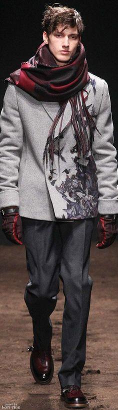 Salvatore Ferragamo Fall 2015. Scarf - Jacket - Gloves - Shoes- Details | Men's Fashion | Menswear | Moda Masculina | Shop at designerclothingfans.com