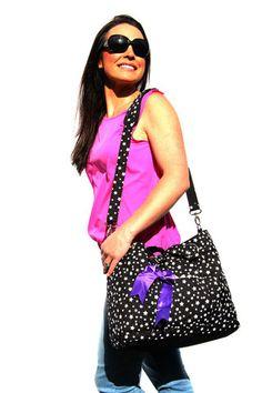 Black Stars Baby Bag, Black Nappy Bag, Diaper Bag, Stars Baby Bag   Baby Buy Direct