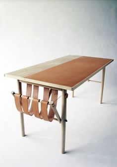 """David Ericsson,  THE WRiTING DESK Thesis Project """"Carl Malmsten Made Me Do It""""  Birch wood, vegetable-tanned leather"""
