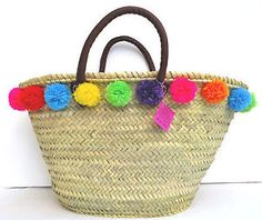 POMPOM STRAW SHOPPING BASKET, BEACH BASKET, LEATHER HANDLES AB70 | eBay