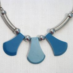 Jakob Bengel  Blue galalith and chrome necklace