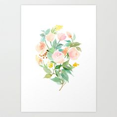 Rose Bouquet in Peach, Mint and Copper Art Print by Yao Cheng Design