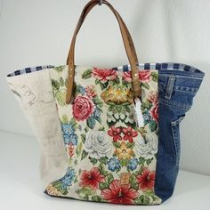 Vintage Bags Vintage - Beutel Love the look, not sure about the strength of the handle attachment, but nice idea. Sacs Tote Bags, Denim Tote Bags, Denim Crafts, Boho Bags, Recycled Denim, Patchwork Bags, Fabric Bags, Market Bag, Vintage Bags