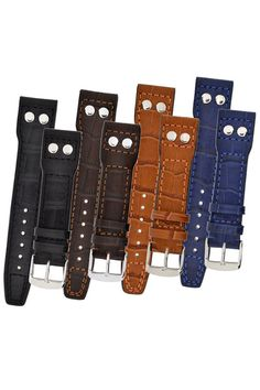 IWC Aviation Style Gator Leather Watch Strap in BLACK, BROWN, TAN and BLUE £37.95    20mm and 22mm