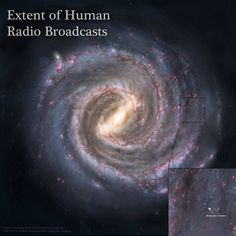 The extent of human radio signals into the Milky Way Galaxy; It's not the black square, it's the little blue dot.