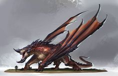 Red dragon concept by Qichao Wang Elves Fantasy, Fantasy Dragon, Dragon Art, Magical Creatures, Fantasy Creatures, Dnd Dragons, Monster Hunter World, Creature Concept, Monster Art
