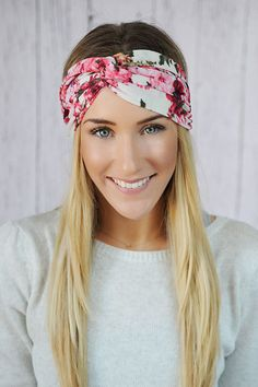 Ivory Floral Turbans Headband with Pink, Ivory, Fuchsia Flower Patterned Stretchy Twist Headband for  Womens Fashion. $24.00, via Etsy.