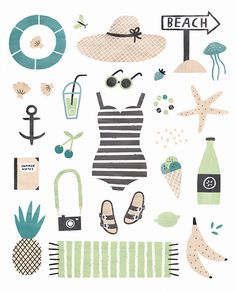 illustration, summer, beach, design, illustration, collection, colour                                                                                                                                                                                 More