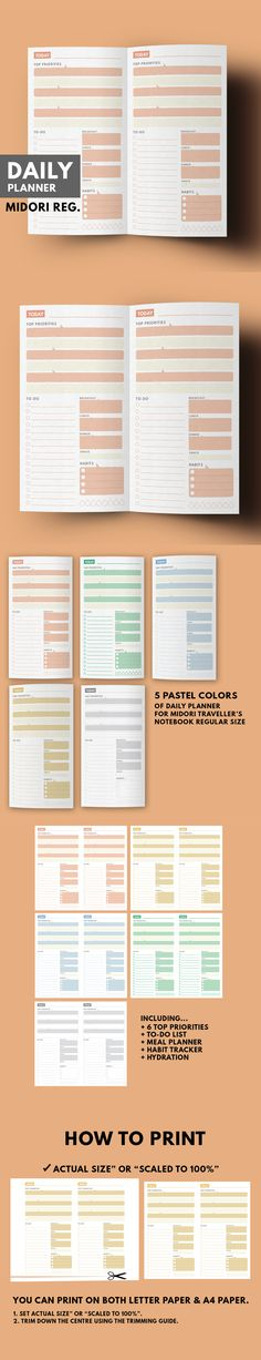 Daily Planner 5 Pastel Color ▹ for Midori Traveller's notebook Regular size Printable Daily Planner in 5 Pastel colors in minimal style. You can choose one of 5 colors which you like ▹ Coral ▹ Mint ▹ Sky ▹ Mustard ▹ Smoke