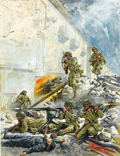 Combat between US and German troops, WWII