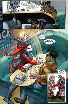 Harley Quinn parodies the famous Han Solo - Greedo scene from Star Wars.
