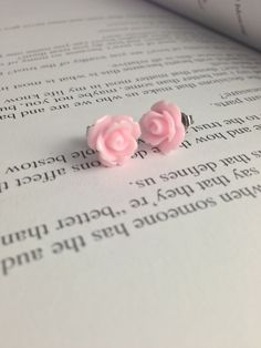 Soft Pink Resin Flower Earrings Spring is Coming 10mm by glamMKE, $6.00